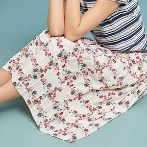 Anthropologie pleated floral skirt